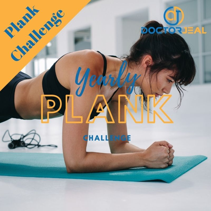 women performing a plank exercise with the words 'yearly plank challenge'