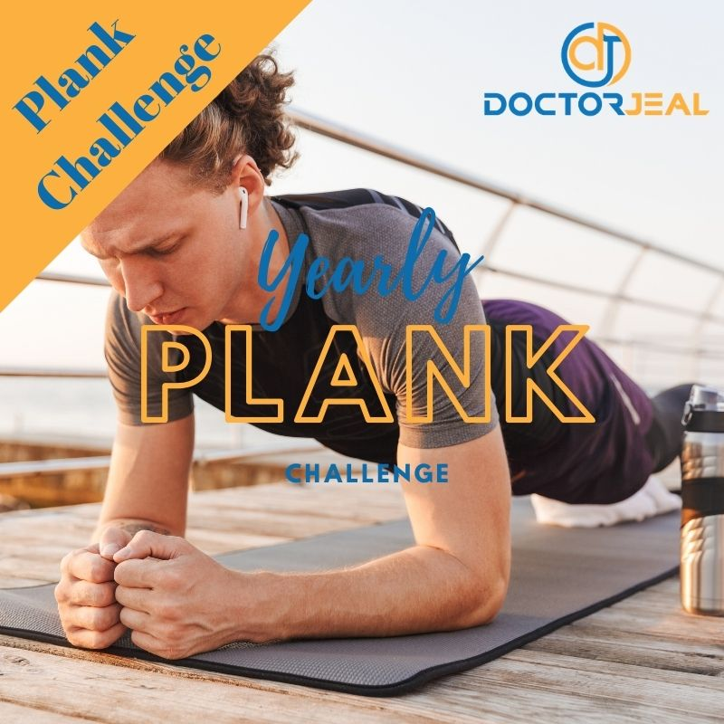 Man performing a plank exercise with the text 'Yearly Plank Challenge'