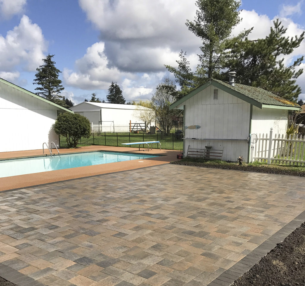 swimming pool and paver patio