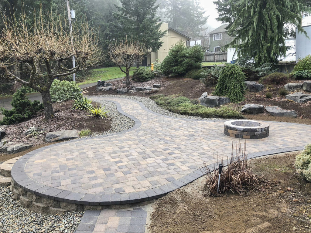 steps, pavers, fire pit, curves, walkways
