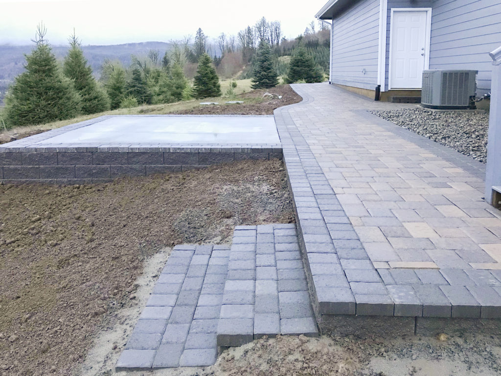 walk ways and steps on retaining walls