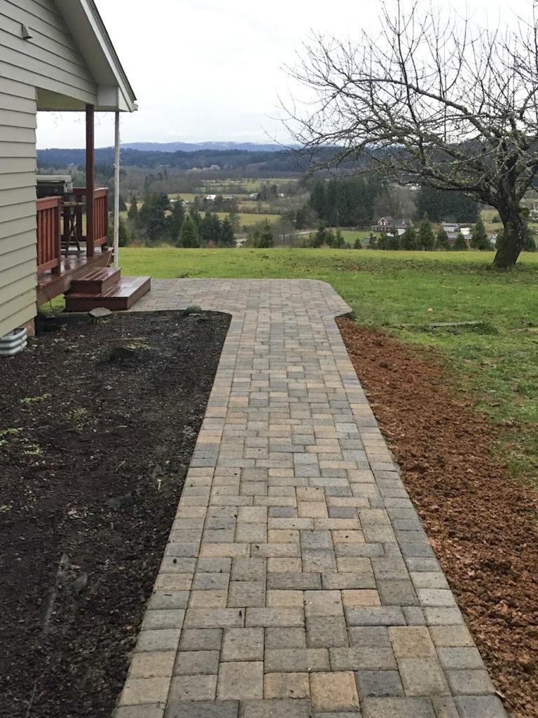 walkway around house to deck