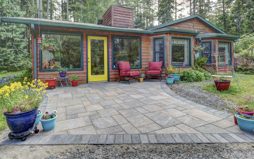 patio in the woods with cabin