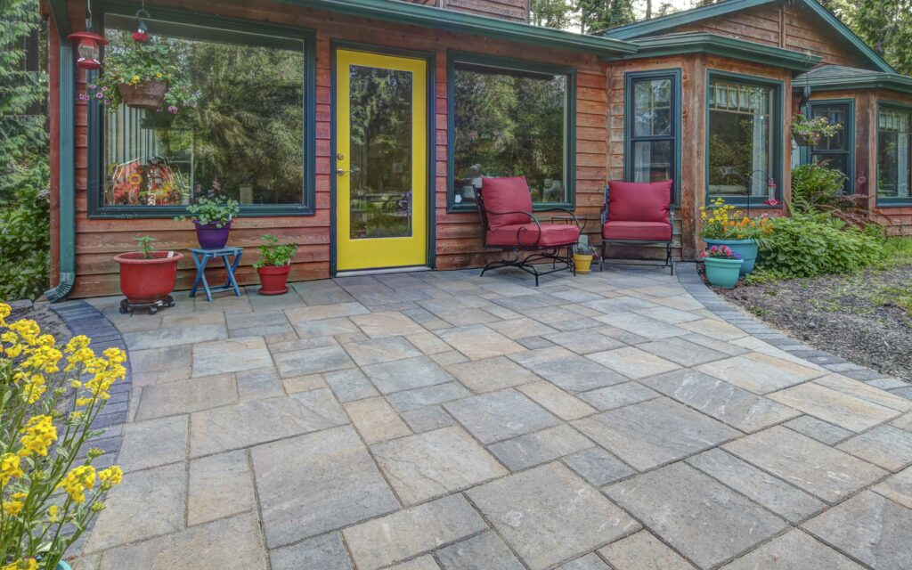 textured paver patio