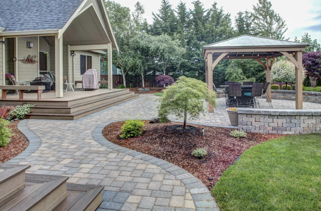patio and seating walls, backyard paradise with deck