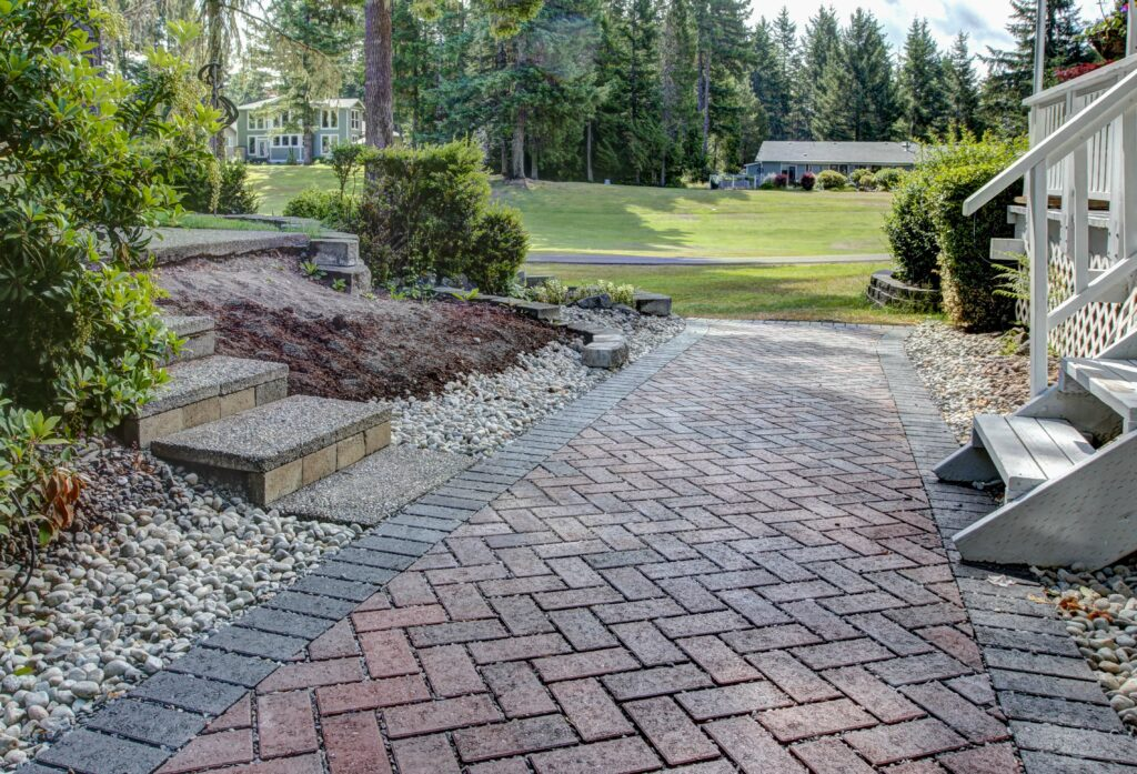 permeable paver walkway with charcoal border