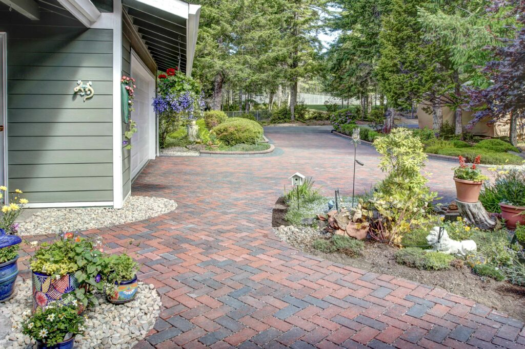 permeable driveway and walkway in traditional colors