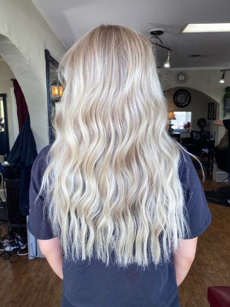Platinum blonde with creamy buttery lowlights and slight highlights