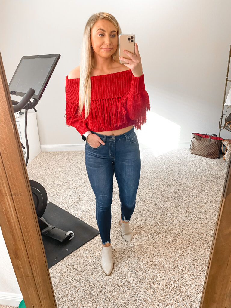 Fringe red off the shoulder sweater and distressed hem skinny jeans with nude booties