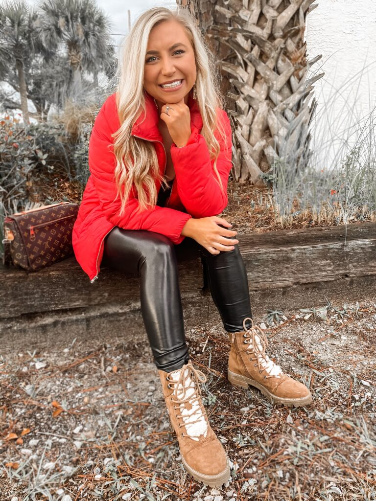 The cutest red puffer jacket paired with spanx and fur lace up boots!