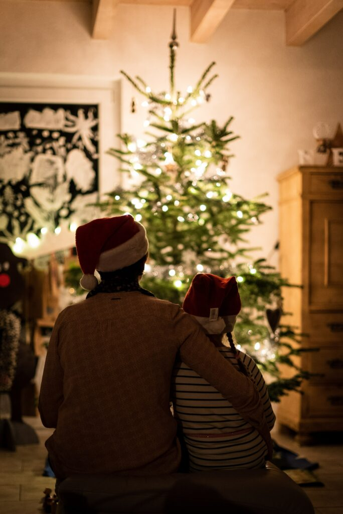 A parent and child sit with their backs to the camera. They are facing a christmas tree, wearing Santa hats, and the parent's arm is warmly wrapped around their child.