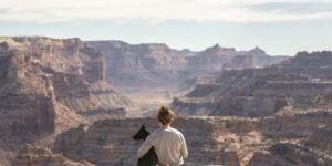 a woman with her arm around her dog sits with the pet animal their backs to the camera overlooking a beautiful canyon landscape