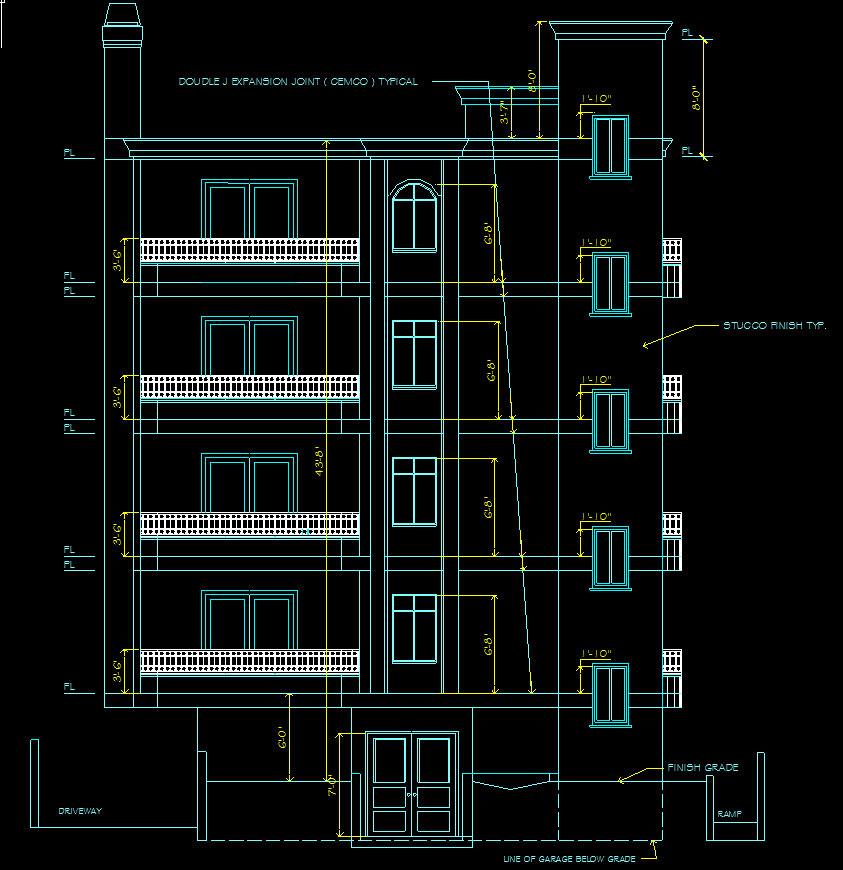 Four-Story Condominium Elevation Drawing