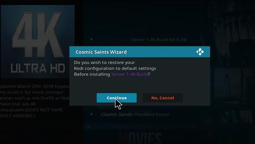 How to Install Cosmic Saints 4K Kodi Build with Screenshots step 24