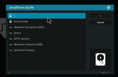 manual and download teverz addon repo step 4