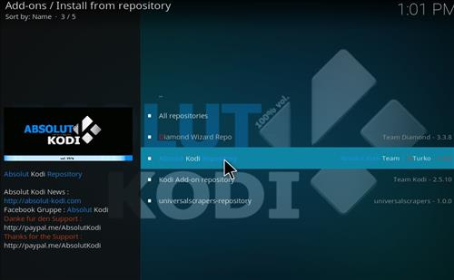 How to Install Absolut Kodi Repository with Screenshots step 14