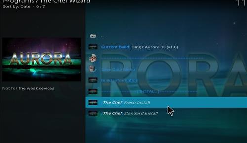 How to Install Diggz Aurora Kodi 18 Leia Build step 18