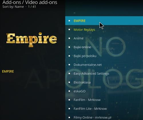 How to Install Empire Add-on on Kodi 18 Leia step 17