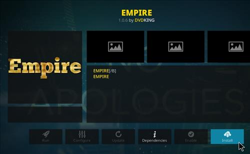 How to Install Empire Add-on on Kodi 18 Leia step 18
