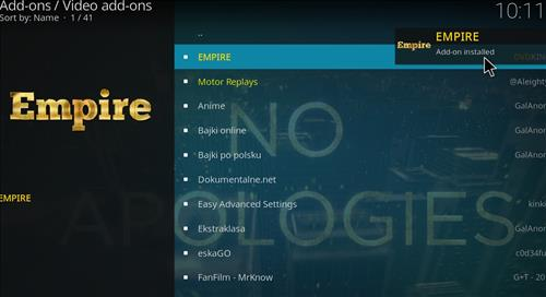 How to Install Empire Add-on on Kodi 18 Leia step 20
