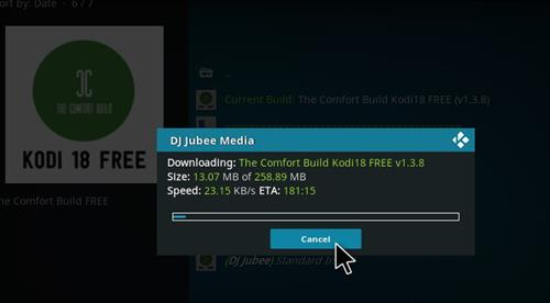 How to Install The Comfort Build Kodi 18 Leia step 20