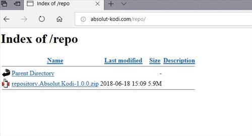 manual and download absolut kodi repo step 1