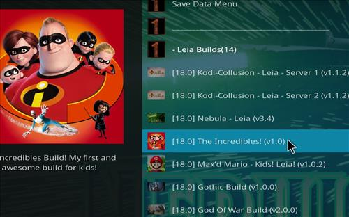 How to Install The Incredibles Kodi Build 18 Leia step 22
