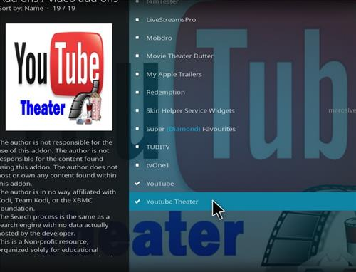 How to Install You Tube Theater Kodi Add-on with Screenshots step 18