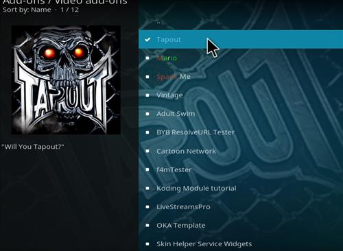 How to Install Tapout Kodi 18 Leia Add-on step 17