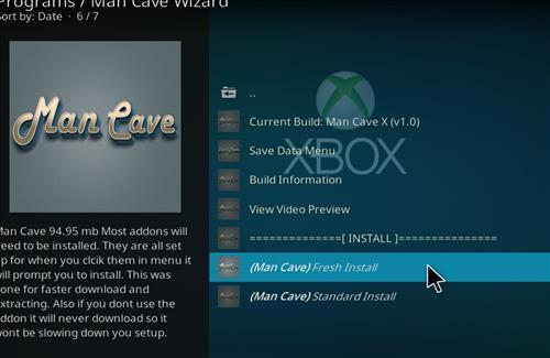 How to Install Man Cave X Kodi 18 Leia Build step 25