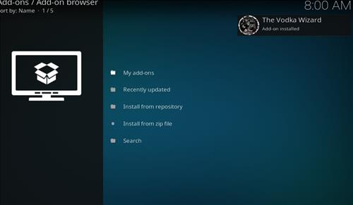How to Install Vodka Kodi Build Blue Label with Screenshots step 13