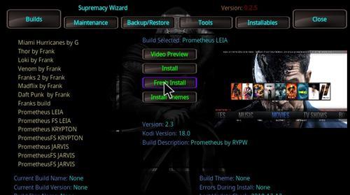 How to Install Prometheus Kodi Build 18 Leia step 24
