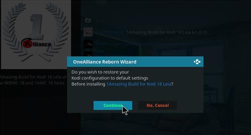 How to Install One Alliance Reborn Kodi Build 18 Leia step 18