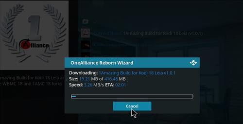 How to Install One Alliance Reborn Kodi Build 18 Leia step 19