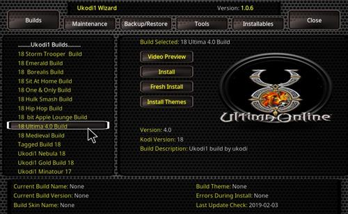 How to Install Ultima 4.0 Kodi Build 18 Leia step 25