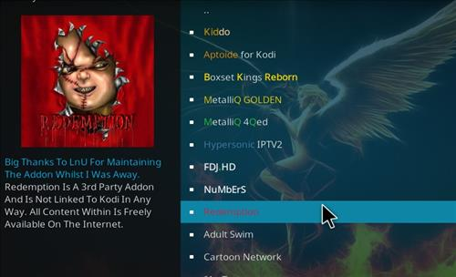How to install Redemption Add-on for Kodi 18 Leia step 17