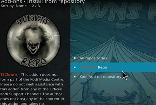 How to Install 13 clowns Video Kodi 18 Leia Add-on step 15