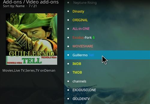 How to Install Guillermo Tell Kodi 18 Leia Add-on step 18