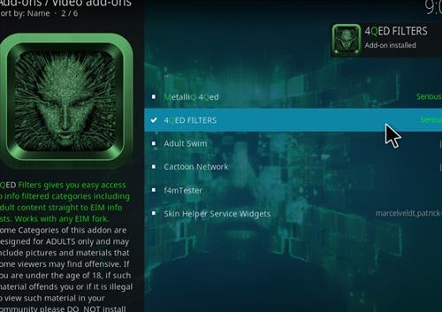 How to Install 4Qed Filters Kodi 18 Leia Add-on step 20