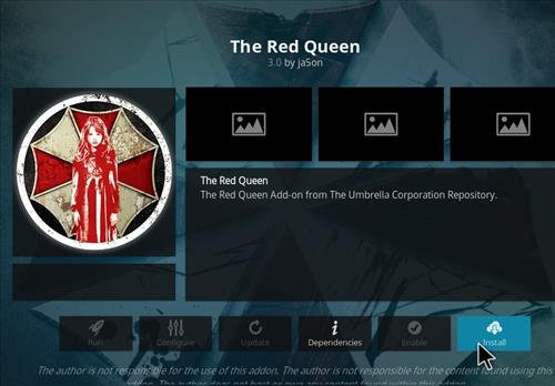 How to Install The Red Queen Kodi 18 Leia Add-on step 18