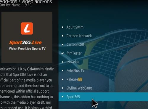 How to Install Sport365 Kodi 18 Leia Add-on step 17
