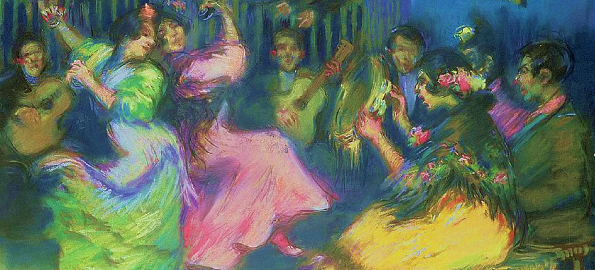 """O quadro """"Dançarinos espanhóis ciganos"""", pintado por Ricardo Canals y Llambi em 1898, expressa o fascínio de toda a Europa do fim do século XIX pelas tradições populares na música e na dança."""