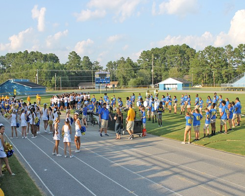 NMB High School football teams and cheerleaders introduced to fans