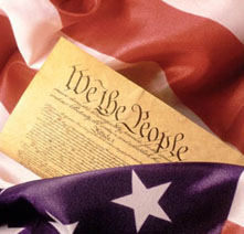 US Constitution w/Flag