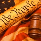 Gavel, Constitution, and Flag