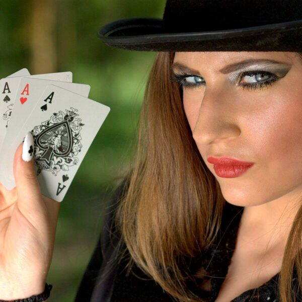 girl, topper, playing cards