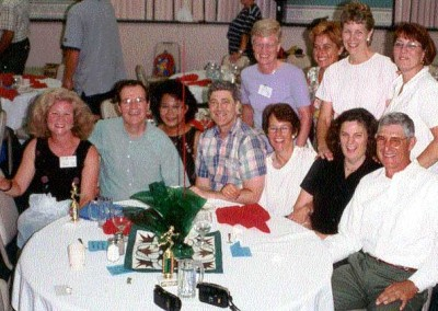 Class of 70  - Standing - Ann Turnbull, Marina Moraitis, Sarah Jane Meloy, Ann Quick.  Seated - Markie Greg, Steve and Mely Davenport, Ed Nicholas, Josephine Johansen, Jane Meloy and ?