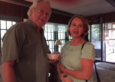 Friday, July 21 at the welcome dinner at Merrianne and Gib McGill's house - George Reed and Charlotte Weaver-Gelzer