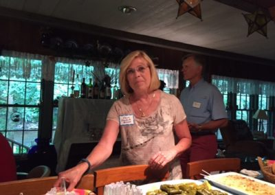 Friday, July 21 at the welcome dinner at Merrianne and Gib McGill's house - Gloria Holcomb