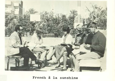42 - French class on the b-ball court, 1965-1966 – left to right – Christian Ayoub, Professor, Ruth Sandilands, Carolyn Ainley, Chloe Swart, Alice Meloy, Bruce Yount.  Info sent in by Charlotte Weaver-Gelzer